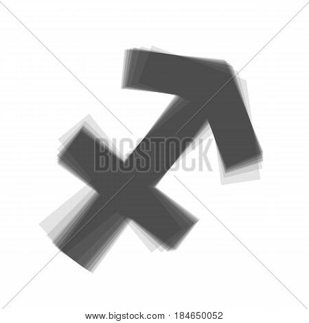Sagittarius sign illustration. Vector. Gray icon shaked at white background.