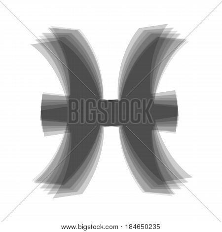 Pisces sign illustration. Vector. Gray icon shaked at white background.