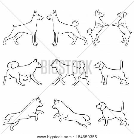 Set of ten hand drawing dog vector outlines over white background