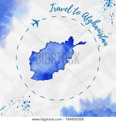 Afghanistan Watercolor Map In Blue Colors. Travel To Afghanistan Poster With Airplane Trace And Hand
