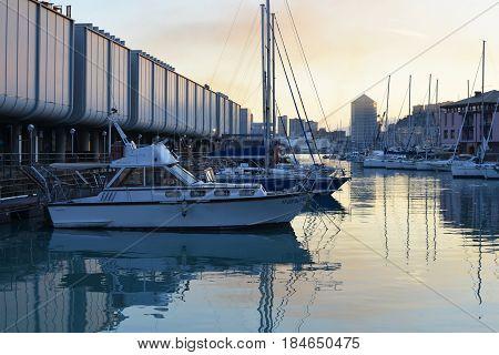 Genova Italy - june 22 2016: View of city port near an aquarium of Genoa in the evening