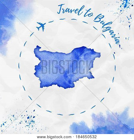 Bulgaria Watercolor Map In Blue Colors. Travel To Bulgaria Poster With Airplane Trace And Handpainte