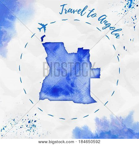 Angola Watercolor Map In Blue Colors. Travel To Angola Poster With Airplane Trace And Handpainted Wa