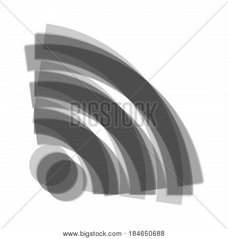 RSS sign illustration. Vector. Gray icon shaked at white background.