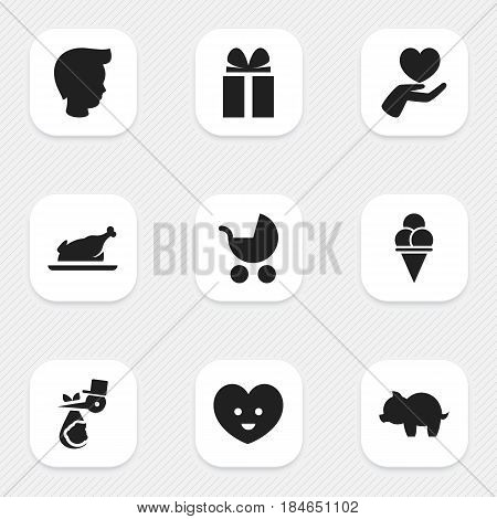 Set Of 9 Editable Relatives Icons. Includes Symbols Such As Fried Chicken, Gift, Cold Dessert And More. Can Be Used For Web, Mobile, UI And Infographic Design.