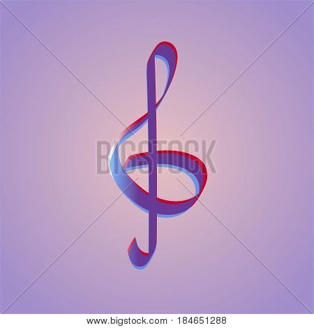 Treble clef. Logo template. Treble clef on color background