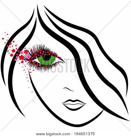 Abstract Girl Face With Green Eye And Sakura Florets