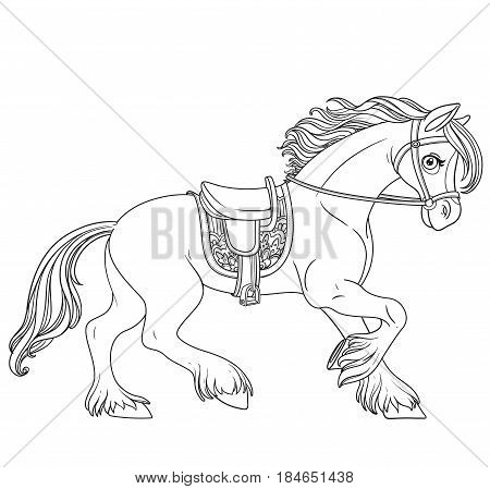 Cute cartoon horse harnessed in a harness runs forward outlined isolated on a white background
