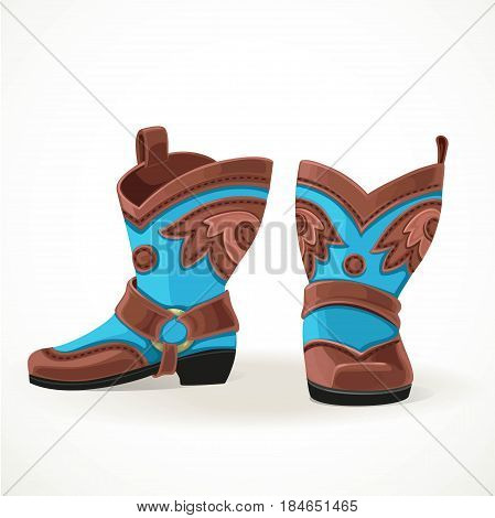 Embroidered cowboy boots from brown and blue leather isolated on white background