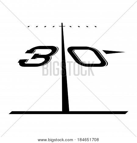 Isolated yard line of a football field, Vector illustration