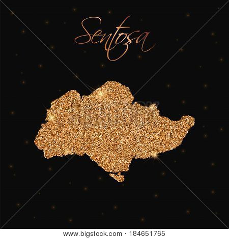 Sentosa Map Filled With Golden Glitter. Luxurious Design Element, Vector Illustration.