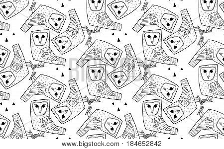 Barn owl. A seamless pattern in the handdrawn style. Black and white graphics Texture for scrapbooking, wrapping paper, textiles, web page, wallpapers, surface design, fashion