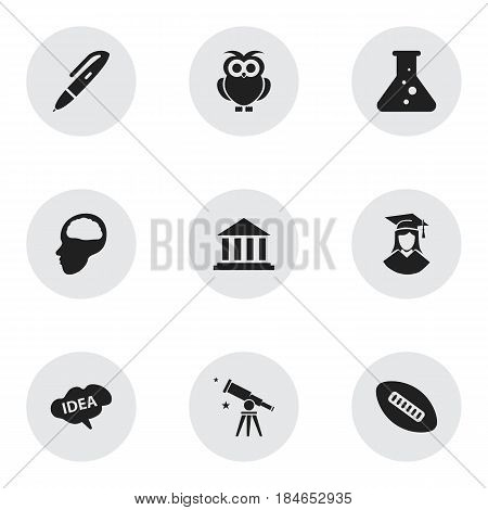 Set Of 9 Editable Graduation Icons. Includes Symbols Such As Binoculars, Cerebrum, Oval Ball And More. Can Be Used For Web, Mobile, UI And Infographic Design.