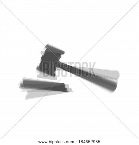 Justice hammer sign. Vector. Gray icon shaked at white background.