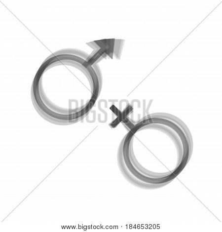 Sex symbol sign. Vector. Gray icon shaked at white background.