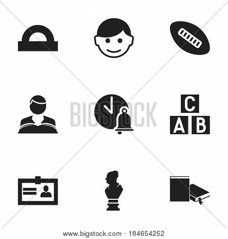 Set Of 9 Editable Science Icons. Includes Symbols Such As Certification, Studying Boy, School Bell And More. Can Be Used For Web, Mobile, UI And Infographic Design.