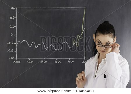 Dark-haired Scientist Standing Near The Blackboard