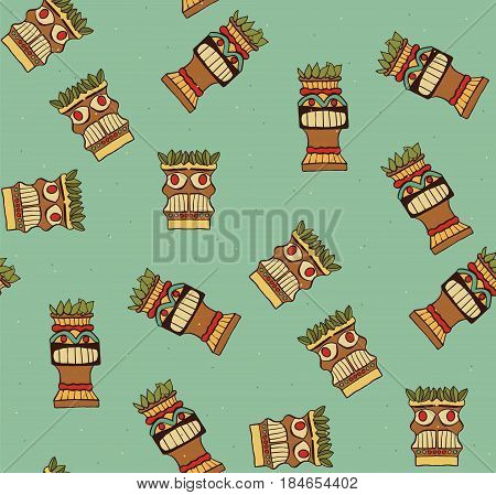 Seamless pattern with tiki masks. Vector hand drawn illustration.