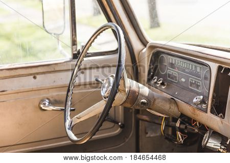 Interior Of Classic Vintage Pickup Truck