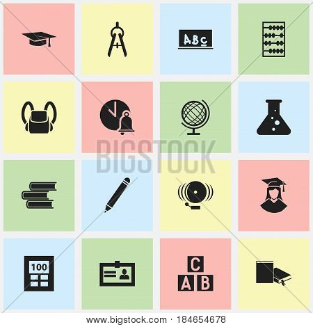 Set Of 16 Editable School Icons. Includes Symbols Such As School Board, Pencil, Schoolbag And More. Can Be Used For Web, Mobile, UI And Infographic Design.