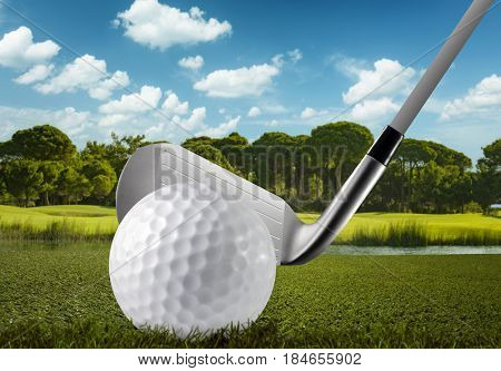 Golf ball, club and the golf course extreme close up