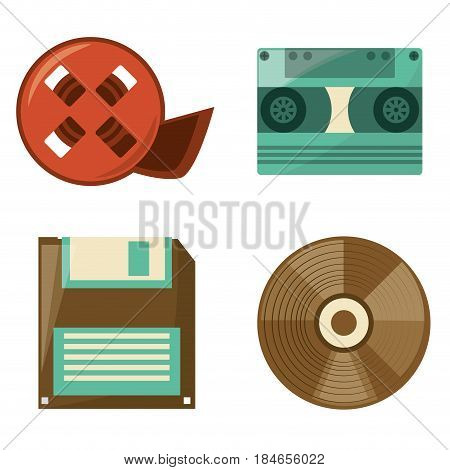 retro reel film, diskette, cassette and cd play, vector illustration