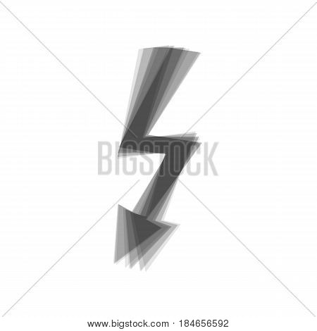 High voltage danger sign. Vector. Gray icon shaked at white background.