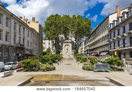 Antoine Gailleton monument on the Gailleton square (Place Gailleton) in Lyon city France. Antoine Gailleton was a Mayor of Lyon from 1881 till 1900