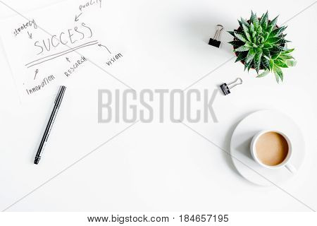 business plan with chart hand-drawn and coffee in management concept on white office table background top view mockup