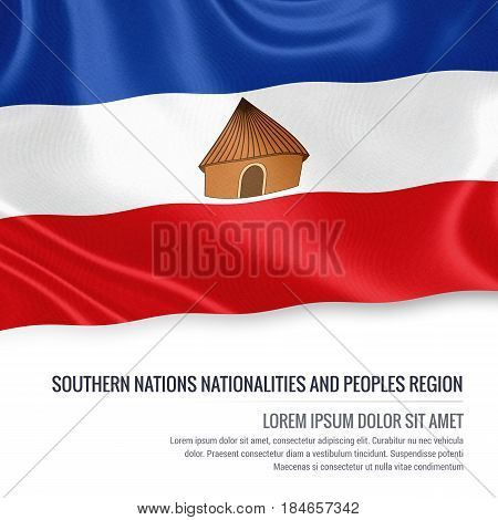 Southern Nations Nationalities and Peoples' Region flag. Flag of Ethiopian state Southern Nations Nationalities and Peoples' Region waving on an isolated white background. State name and the text area for your message. 3D illustration.