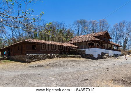 Guanacaste Costa Rica - April 10: View of the Hacienda de Santa Rosa with tourists walking inside. April 10 2017 Guanacaste Costa Rica.