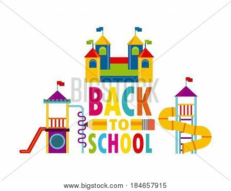 beautiful children playground with back to school label vector illustration design