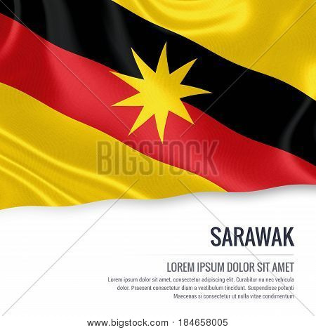 Sarawak flag. Flag of Malaysian state Sarawak waving on an isolated white background. State name and the text area for your message. 3D illustration.