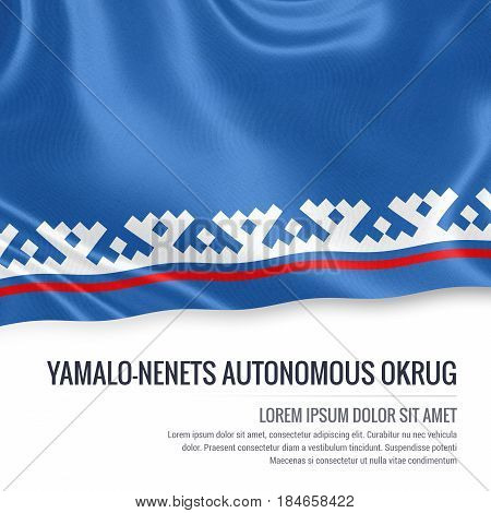 Russian state Yamalo-Nenets Autonomous Okrug flag waving on an isolated white background. State name and the text area for your message. 3D illustration.