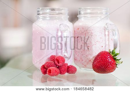 Refreshing Milk Smoothie With Scattered Berries