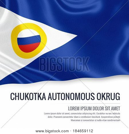 Russian state Chukotka Autonomous Okrug flag waving on an isolated white background. State name and the text area for your message. 3D illustration.