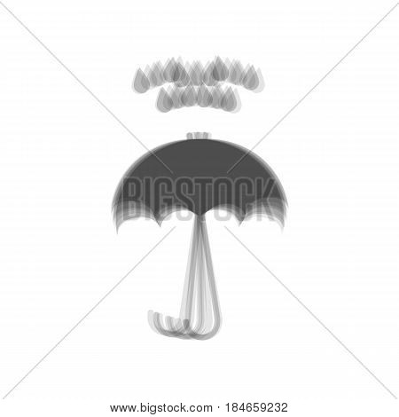 Umbrella with water drops. Rain protection symbol. Flat design style. Vector. Gray icon shaked at white background.