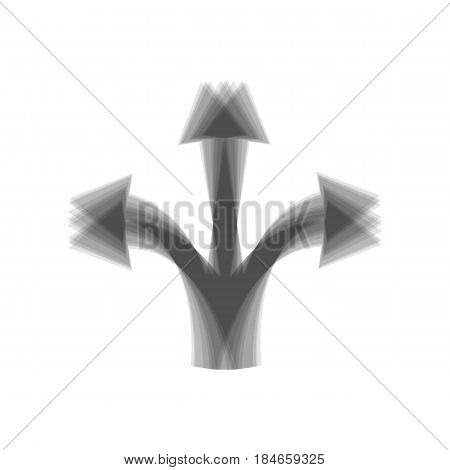 Three-way direction arrow sign. Vector. Gray icon shaked at white background.