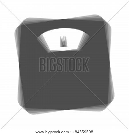 Bathroom scale sign. Vector. Gray icon shaked at white background.
