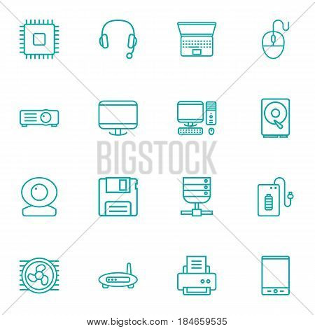 Set Of 16 Laptop Outline Icons Set.Collection Of Tablet, Headphone, Hdd And Other Elements.
