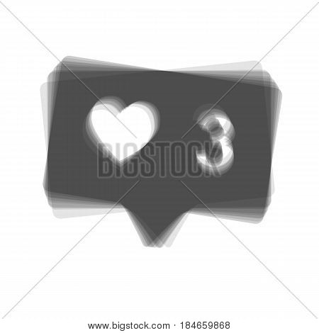 Like and comment sign. Vector. Gray icon shaked at white background.