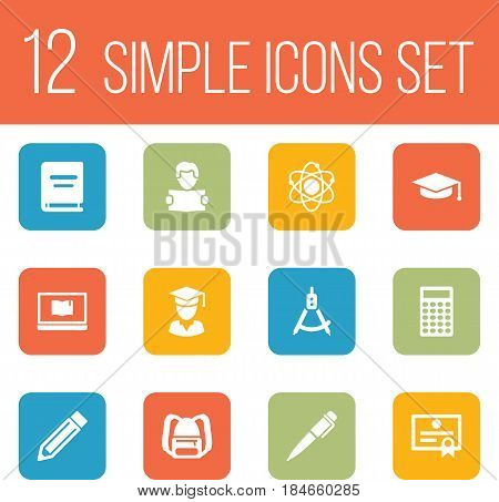 Set Of 12 Science Icons Set.Collection Of Diplomaed Male, Magnet Navigator, Reading And Other Elements.