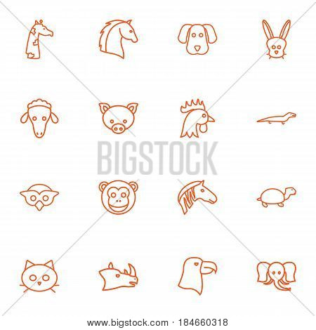 Set Of 16 Brute Outline Icons Set.Collection Of Giraffe, Monkey, Mammal And Other Elements.
