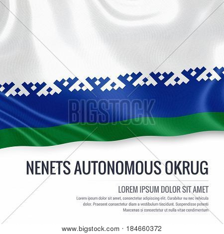 Russian state Nenets Autonomous Okrug flag waving on an isolated white background. State name and the text area for your message. 3D illustration.