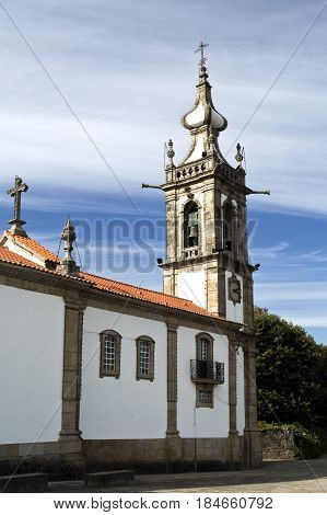 The church of Santo Antonio da Torre Velha is a late baroque temple with nave greater chapel sacristy and bell tower in the town of Ponte de Lima Portugal