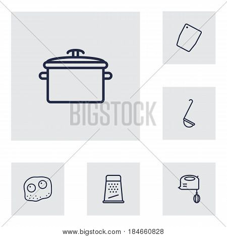 Set Of 6 Kitchen Outline Icons Set.Collection Of Omelette, Ladle, Grater And Other Elements.