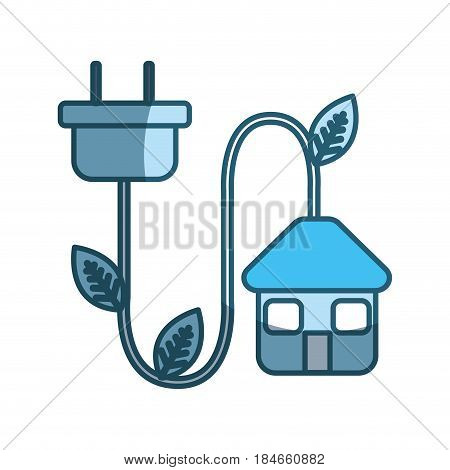 blue house with reduce power cable icon, vector illustration design