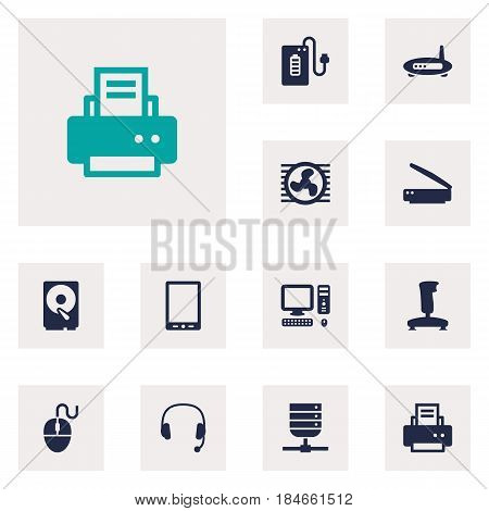 Set Of 12 Notebook Icons Set.Collection Of Headset, Photocopy, Palmtop And Other Elements.