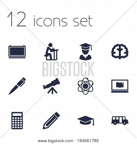 Set Of 12 Studies Icons Set.Collection Of Academic Hat, Marrow, Notebook And Other Elements.