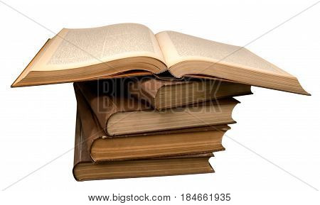 old books in a pile and an open book isolated on white background